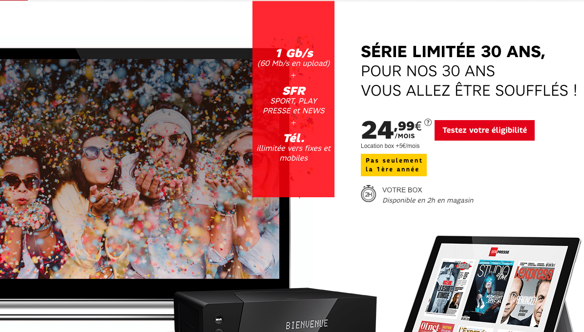 sfr moins de 25 pour la box internet power fibre adsl pour les 30 ans. Black Bedroom Furniture Sets. Home Design Ideas