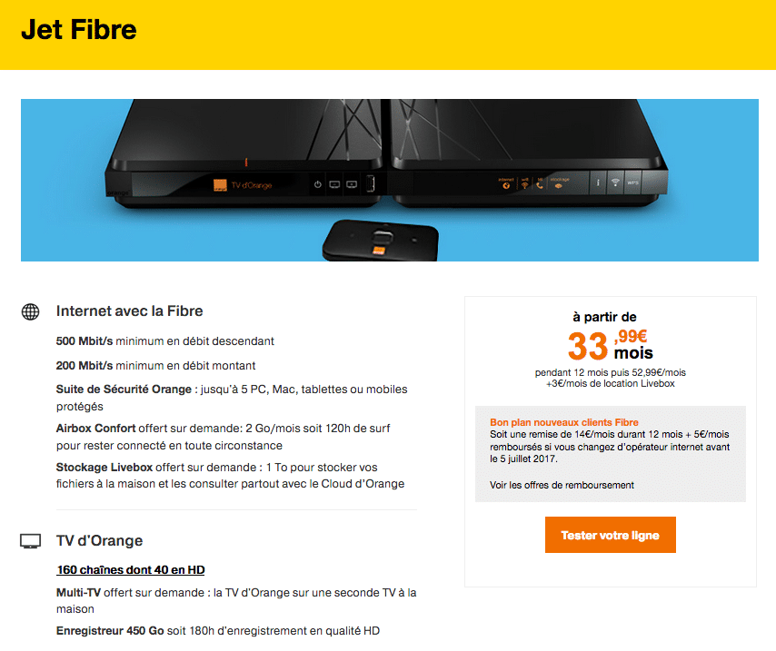 offre orange fibre jet