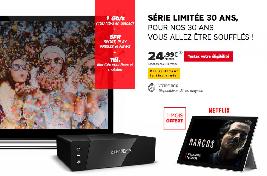 Box internet SFR 30 ans fibre