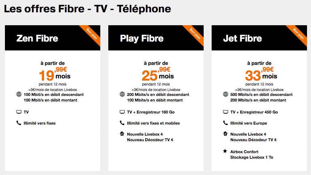 orange la fibre disponible d s 19 99 mois et des bouquets tv en promo. Black Bedroom Furniture Sets. Home Design Ideas