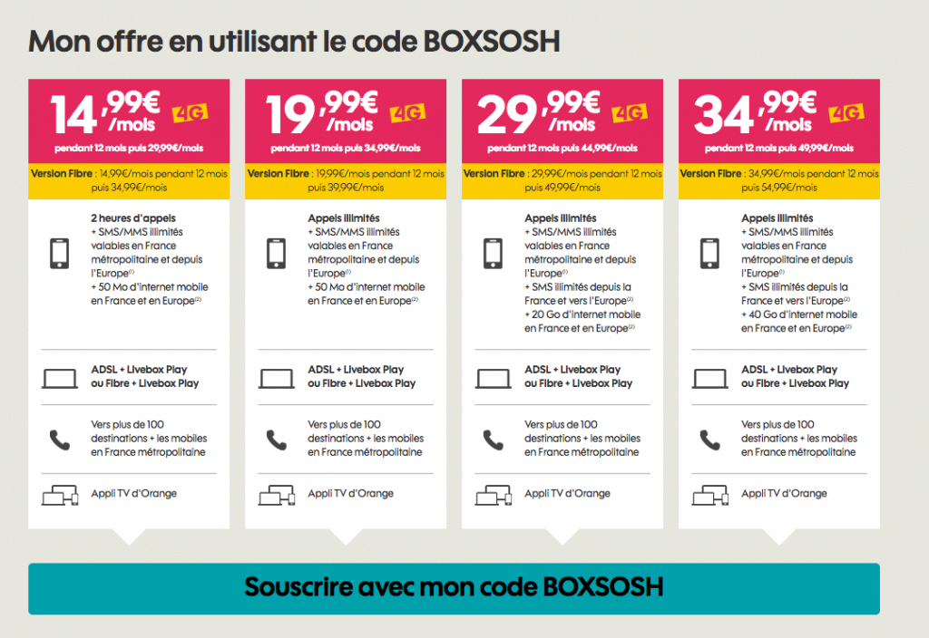 sosh les offres mobile et box
