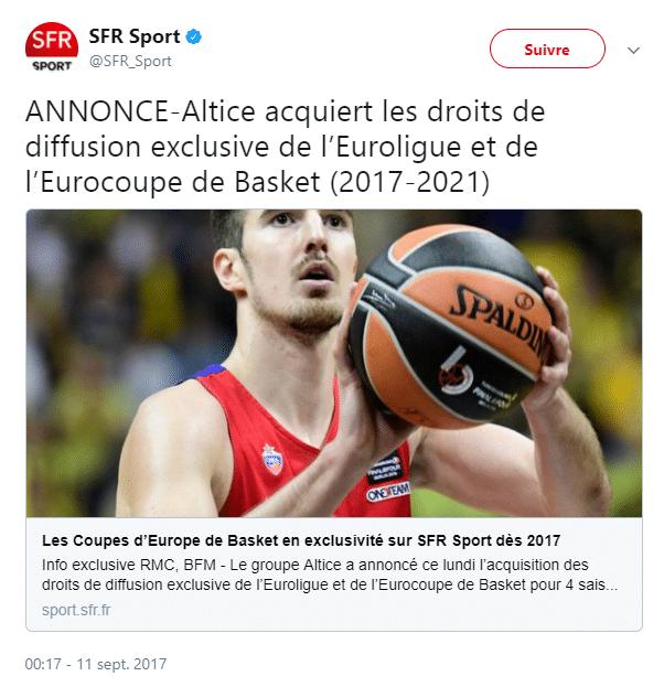 SFR Sport acquiert les droits de diffusion exclusive de l'euroligue et de l'eurocoupe de basket