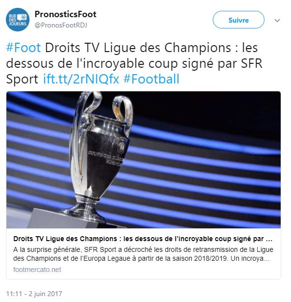 Sfr sport a aussi acquis les droits sportifs les plus convoités la ligue des champions et l'europa league