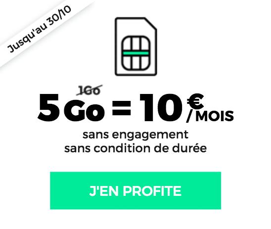 5 Go de data 10€ à vie