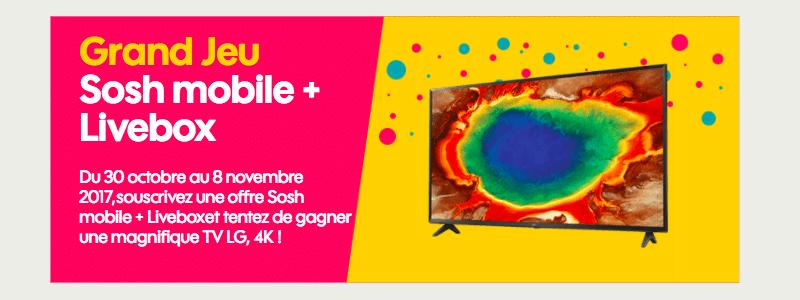 sosh un jeu concours pour gagner une tv 4k avec la box. Black Bedroom Furniture Sets. Home Design Ideas
