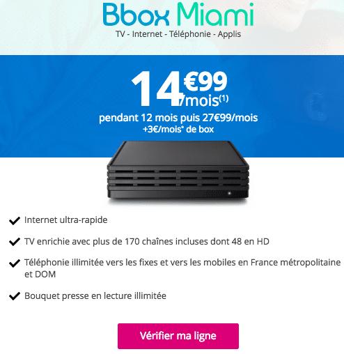 bbox miami 14 99 par mois l 39 offre de bouygues t l com prolong e. Black Bedroom Furniture Sets. Home Design Ideas