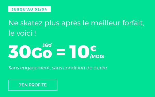La promotion sur le forfait 10€ de RED by SFR.