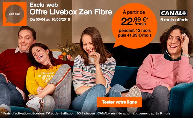 L'abonnement Orange Zen Fibre à 22,99€.