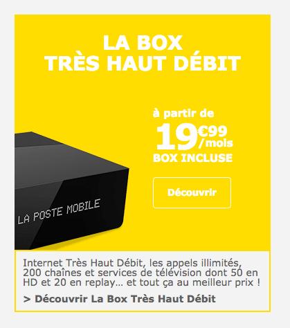 La promotion à ne pas manquer de La Poste Mobile sur sa box internet.