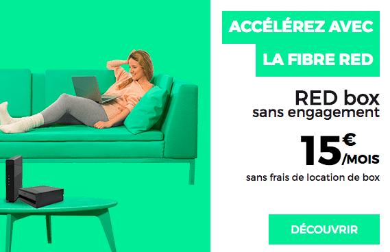 La box internet sans engagement de RED by SFR avec la fibre optique.