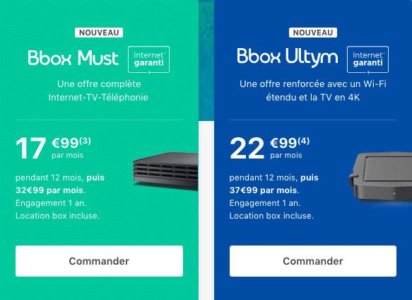 Les offres Must et Ultym de Bouygues Télécom.