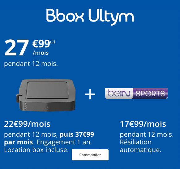 La Bbox Ultym de Bouygues Télécom est en promotion avec l'abonnement à beIN Sports.