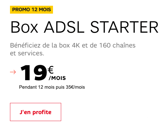 la starter box une box internet adsl d s 19 chez sfr. Black Bedroom Furniture Sets. Home Design Ideas