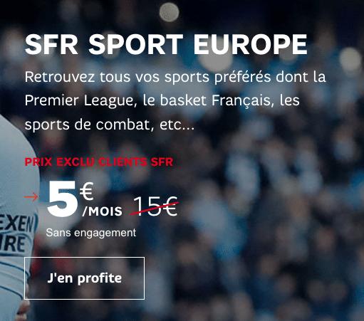 Le service SFR Sport Europe est à un tarif préférentiel grâce à SFR et la Starter box internet..