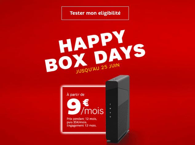 sfr prolonge son offre happy box days l 39 adsl reste 9 par mois. Black Bedroom Furniture Sets. Home Design Ideas