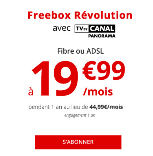 La box internet de Free, Freebox Révolution, en promotion.