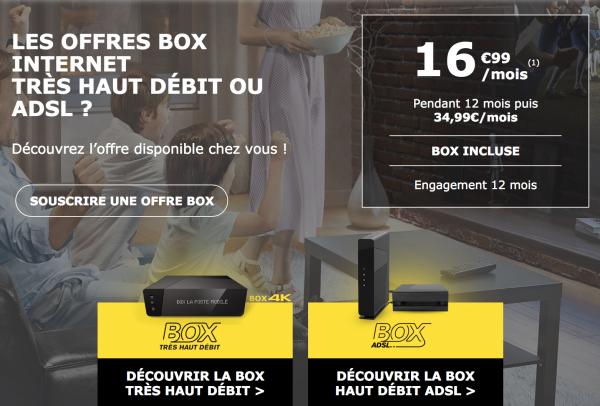 Deux offres box internet ADSL Fibre optique La Poste Mobile