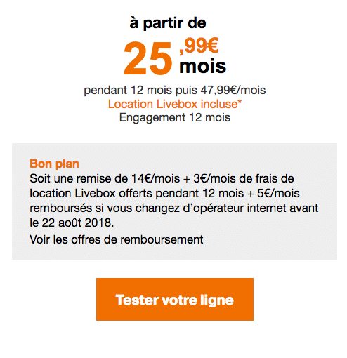 La box internet d'Orange, Play fibre, à bas prix.
