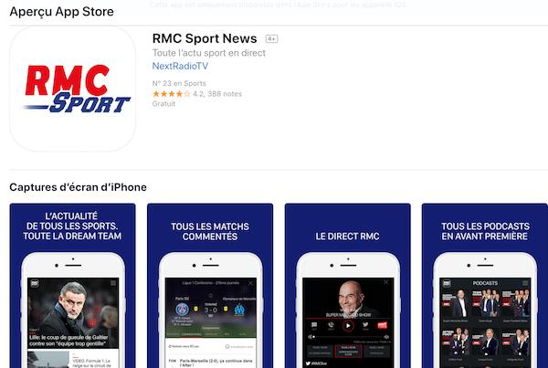 App Store SFR Sport devient RMC Sport
