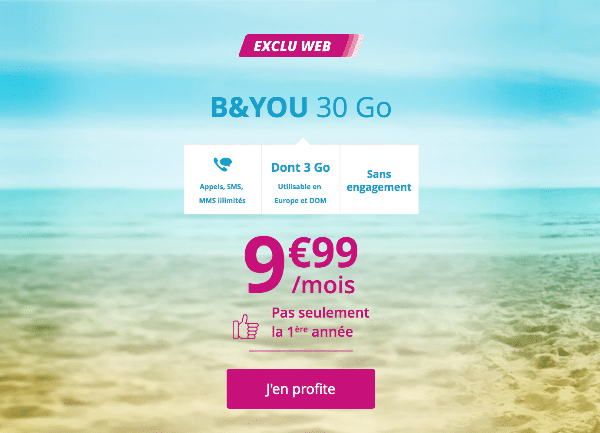 B&YOU 30 Go promotion Bouygues Telecom