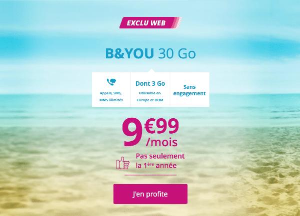 B&YOU 30 Go promotion Bouygues Telecom