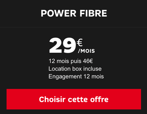 Box internet fibre optique Power de SFR à bas prix.
