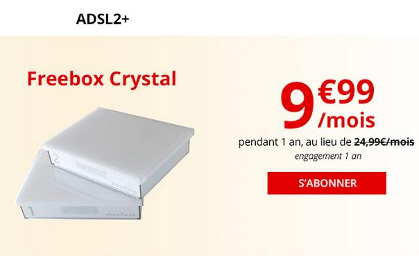 La box internet pas chère en ADSL de Free : la Freebox Crystal.