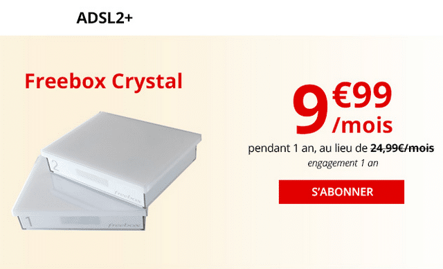Freebox Crystal, la box internet ADSL pas chère de Free.