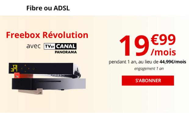 Box internet la plus étoffée de Free, la Freebox Révolution est pas chère avec la fibre optique ou l'ADSL.