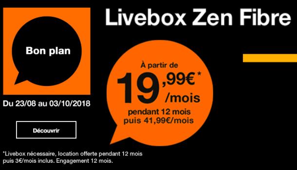 La Livebox Zen d'Orange à 19,99€.