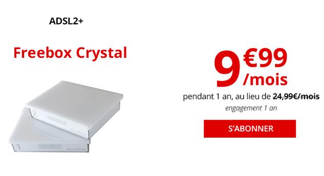 Freebox Crystal, la box internet de Free en ADSL à moins de 10€/mois.