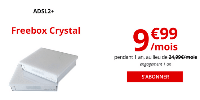Freebox Crystal, la box internet exclusivement ADSL.