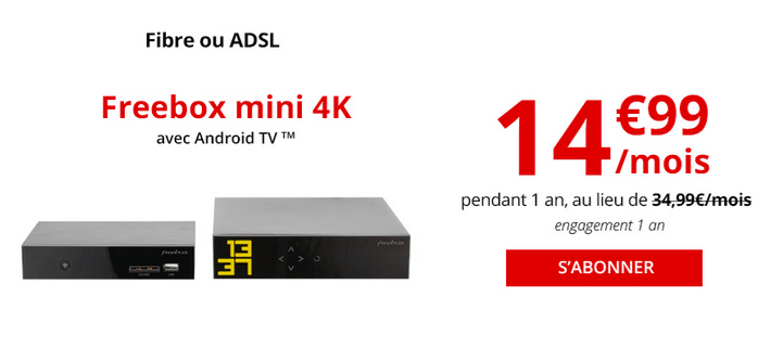 La box internet en fibre optique de Free, la Freebox Mini 4K en promotion.