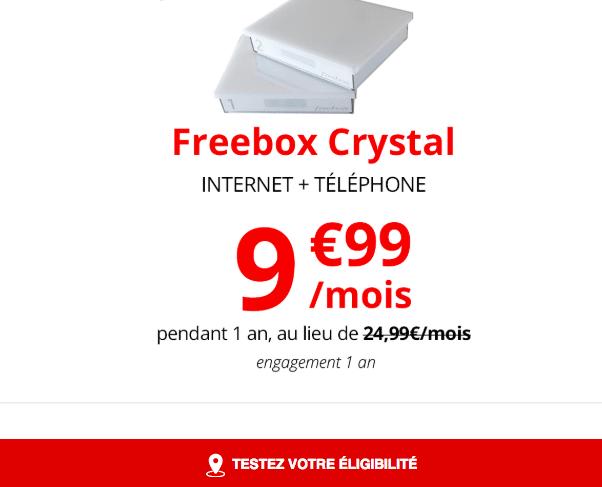 La Freebox Crystal de Free à 9,99€.