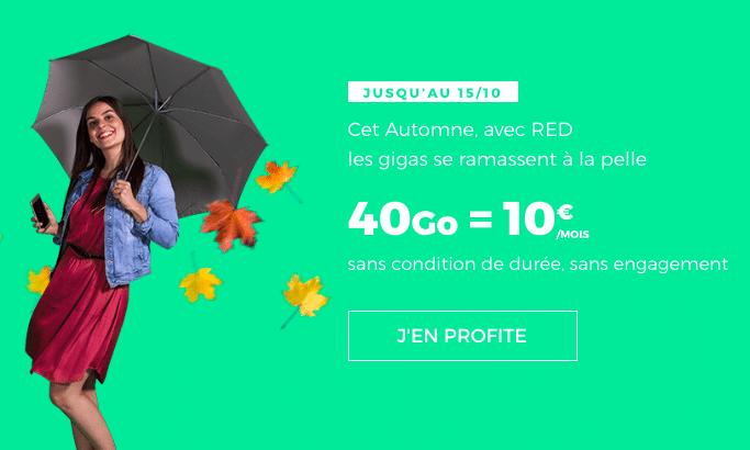Le forfait 40 Gà à 10€ de RED by SFR.