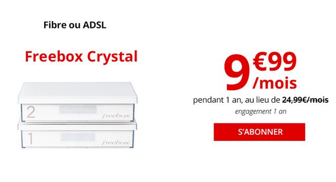 Une box internet pas chère en ADSL chez Free, avec la Freebox Crystal.