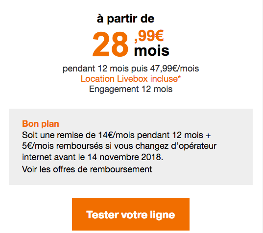 Orange box internet fibre optique promo.
