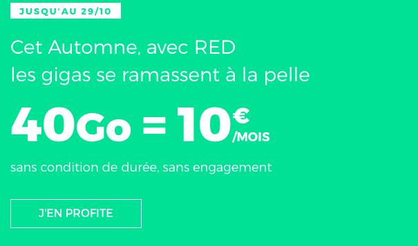 RED by SFR promotion forfait mobile 40 Go.