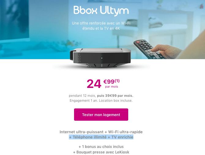 Promotion Bbox Ultym fibre optique chez Bouygues Telecom