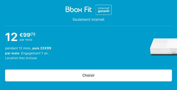 Promotion Bbox Fit Bouygues Telecom ADSL.