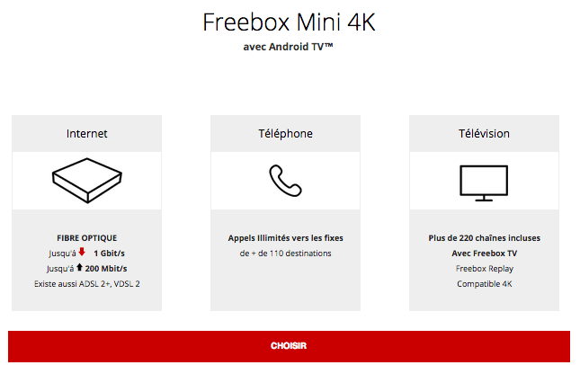 La box internet fibre optique de Free, la Freebox mini 4K, est en promotion.