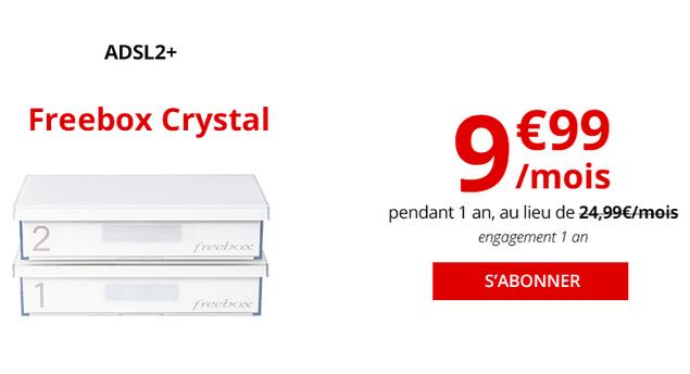 Box internet ADSL promotion chez Free Freebox Crystal.