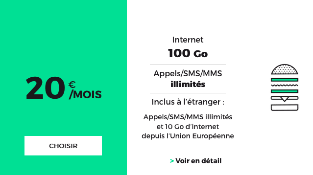 Forfait mobile RED by SFR 100 Go d'internet 4G.