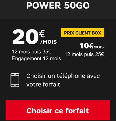 SFR forfait mobile power 50 Go avec remise abonné box.