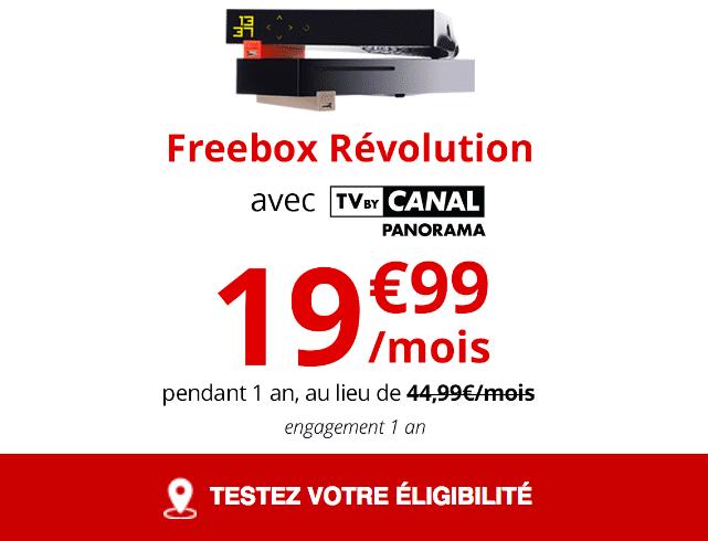 La Freebox Révolution de Free, box internet fibre optique, est en promotion.