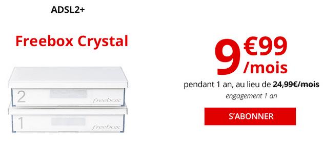 Promotion chez Free avec la box internet ADSL Freebox Crystal.