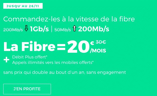 promotion fibre optique red by sfr avec le débit plus et les appels vers mobiles français.
