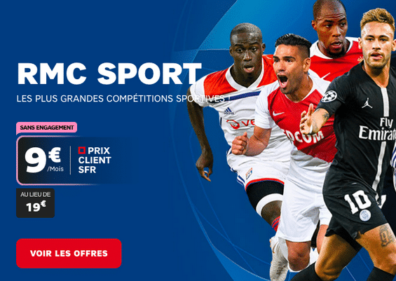 RMC Sport, bouquet à bas prix avec box internet en promo chez SFR.
