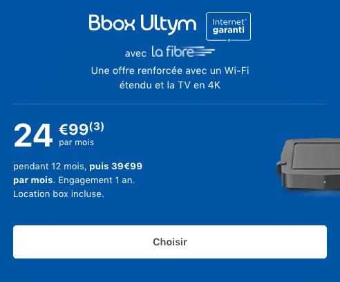 Bbox Ultym promotion box internet fibre optique 4K.