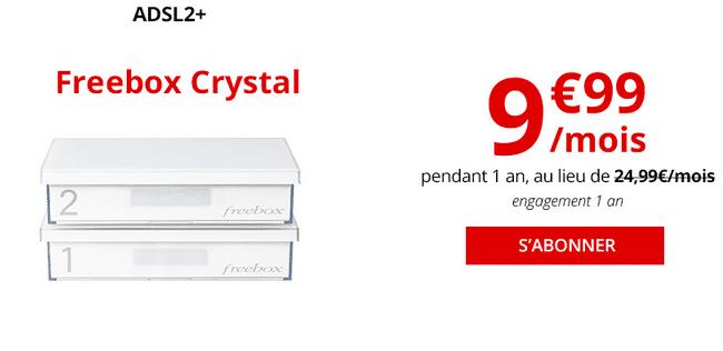 ADSL pas cher box internet Freebox Crystal chez Free.